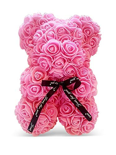 Pink Rose Bear, Pink Flower Bear, A Perfect Gift for Special Occasions, 10″ High Silk Flower Arrangements