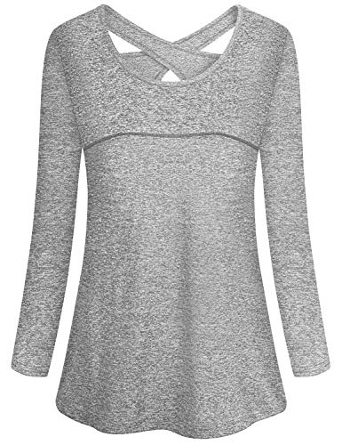 Gym Tops Women,Cucuchy Wicking Workout Shirts Sexy Open Back Yoga Top Soft Comfy Scoop Neck Long Sleeve Exercise Tunics Active Fitness Fashion Home Camping Athleisure Clothes Grey L