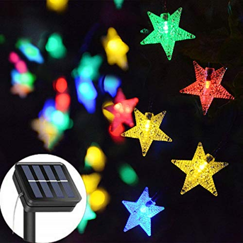 Solar String Lights Garden, 23ft 50 LED Star Fairy Lights Outdoor Solar Powered Led Star String Light Waterproof 8 Modes Decorative Light for Garden Patio Yard Home Wedding Party, Multicolor