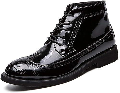 ZHRUI Bottines pour Hommes Semelle Souple antidérapante Bottes de Confort durables avec des Chaussures Brogues (Couleuré   Noir, Taille   EU 42)