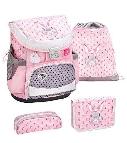 Belmil ergonomischer Schulranzen Set 4 -teilig für Mädchen 1, 2 Klasse Grundschule/Super Leicht 750-800 g/Brustgurt/Hase/Pink, Rosa (405-33 Bunny)