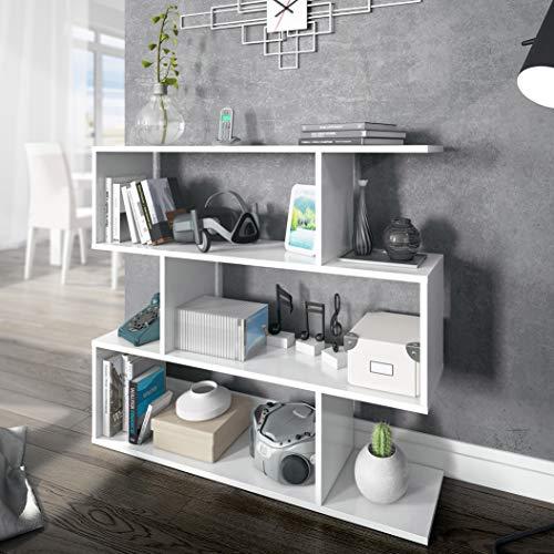 Friburgo Libreria Bassa da Terra, Design Moderno, Libreria A 4 Ripiani, 97 x 110 x 25 cm, Bianco Lucido