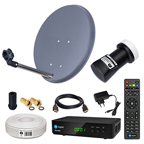 HB-DIGITAL Sat-Komplett-Set: Mini Sat Anlage 40cm Schüssel Anthrazit + UHD Single LNB 0,1 dB + 10m Kabel + HD 250S Receiver ( für HDTV geeignet )