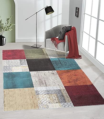 the carpet Elira Teppich Flachgewebe, Robust, Modernes Design, Vintage Optik, Used Look, Superflach, Baumwolle, waschbar, Patchwork, Bunt, ca. 160 x 230 cm