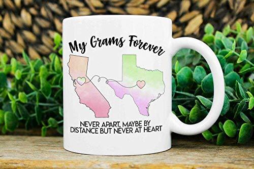 """Tasse mit englischer Aufschrift """"Long Distance Grams Gift Moving Statses"""" für Gramm Umzug Geschenk – 325 ml"""