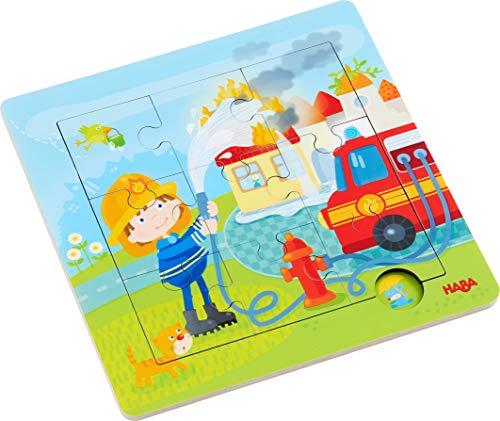 HABA 303770 - Holzrahmen-Puzzle Feuerwehr, 9-teiliges Holzpuzzle mit Feuerwehr-Motiv, Holzspielzeug ab 18 Monaten