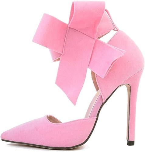 Heyaya Chaussures de Mariage pour Femmes, Unique Chaussures Femmes européennes et américaines 2019 Printemps et été Nouveau Pointu Bow Chaussures de Mariage à Talons Hauts,b,35