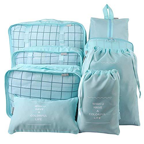 eamqrkt - Juego de 8 Bolsas de Almacenamiento para Viajes, Maleta, Zapatos, Bolsa, Equipaje, Organizador de Maquillaje para Camping, Senderismo Azul (Lake Blue)