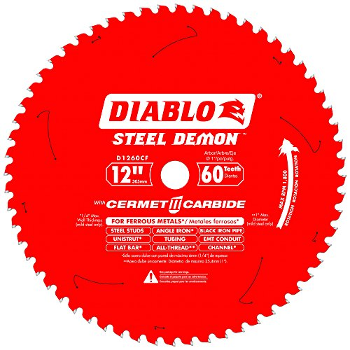 Diablo D1260CF 12-inch Steel Demon 60T Cermet II Carbide Ferrous Metal Saw Blade Carbide Cutting Saw Blade