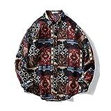 Chaqueta de Camisa Estampada étnica para Hombre, cálida Espesa, cómoda, Holgada, Retro, Informal, de Manga Larga, Chaqueta, Tops XXL