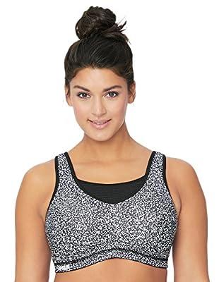 Glamorise womens Elite Performance Full Figure Plus Size No-Bounce Cami Wirefree Sports Bra #1067, Print, 36F