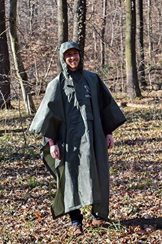 bergtrieb Regenponcho für Damen & Herren - Windfester Regenschutz für\'s Wandern und Radfahren mit Reißverschluss, Gurt und Brusttasche