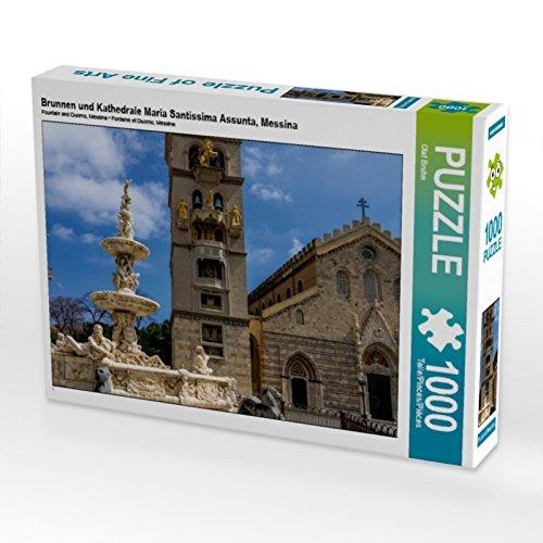 CALVENDO Puzzle Brunnen und Kathedrale Maria Santissima Assunta, Messina 1000 Teile Lege-Größe 64 x 48 cm Foto-Puzzle Bild von Olaf Bruhn