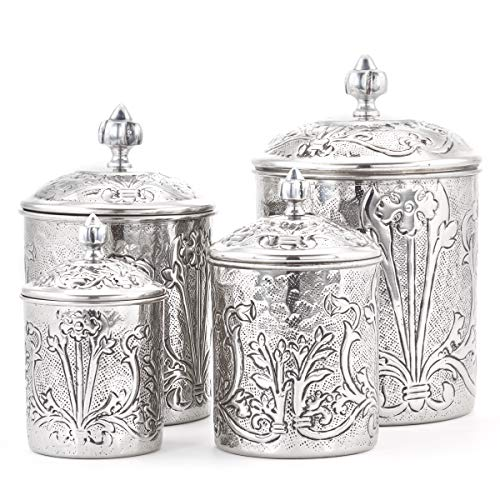 Old Dutch 4 Piece Art Nouveau Canister set, One Size, Stainless Steel, Antique Pewter