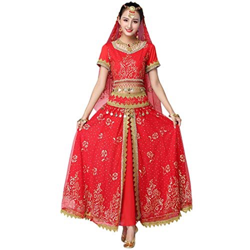MU CHAOHAI Dames 4 Delige Set India Volksdans Pailletten Lange Rok Prestatie Kleding Tops Rokken Kostuum Outfit Set