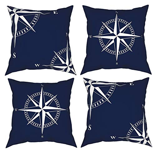 Yunshm Star Compass Sea Nautical Throw Pillow Covers Pillowcases Square Cushion for Sofa Couch Car Bedroom Decorative 18×18' Set of 4 Personalized