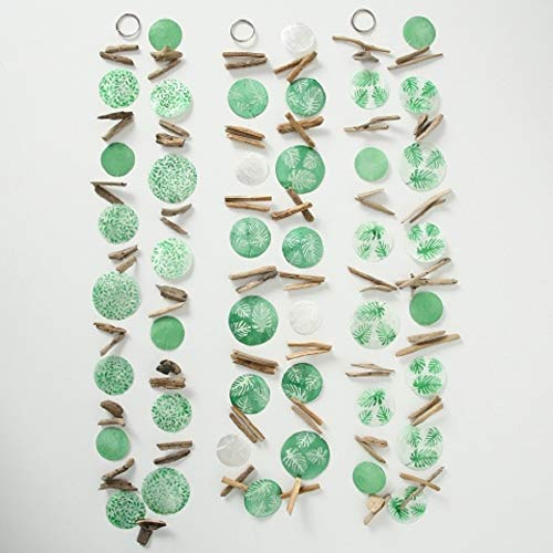 Home Collection 3er Set sort. Capiz Girlande L180cm Blatt grün