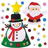 Joyhoop Arbol Navidad Fieltro, DIY Árbol de Navidad Tridimensional 33pcs Ornamentos Desmontables Decoración Colgantes de Navidad Regalos para Niños.