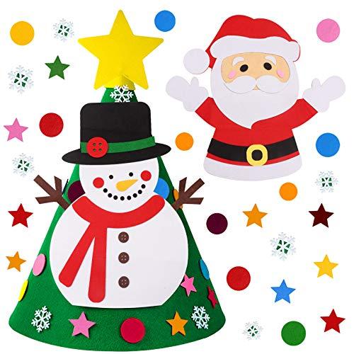 Joyhoop Albero di Feltro di Natale, Albero di Feltro Natale 3D, Includere23 Pezzi di Ornamenti Decorazioni da Appendere a Parete per Bambini Regali di Natale per Bambini Decorazioni per Porte di casa