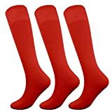 Fitliva Tube Dresses Thick Athletic Ankle Adult Womens Mens Full of Sport Passion Socks (3Pack-Red)