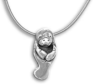 Sterling Silver Manatee Large Pendant by The Magic Zoo