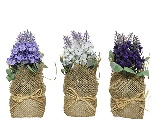 Decoris Mini Kunstblumen Veilchen im Topf 17cm x 1 Stück sortierte Kunstpflanze mit Juteband