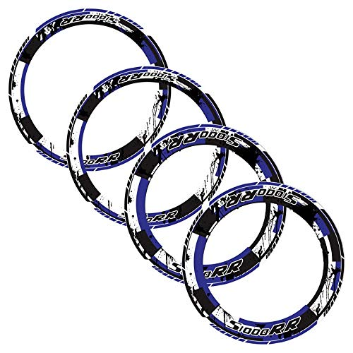 4 X Motorrad Radnaben Rand Reifen Farbe Aufkleber Streifen Rund Reflektierende Aufkleber for BMW S1000XR S1000 XR S 1000XR MEI Racing (Color : Blau)