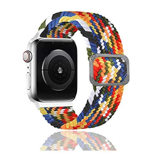 Rosok Correa de Repuesto Elástica Compatible con Apple Watch SE 42mm /44mm, Moda Transpirable, Correa de Tejer de Nylon para Apple Watch Series 6/5/4/3/2/1 42mm /44mm - Color del Arco Iris