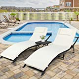 SSLine 3-Piece Patio Outdoor Chaise Lounge Set with Side Table Wicker Poolside Recliner Chaise Sunbed w/Cushions&Adjustable Back Folding Rattan Lounger Chairs Table Set for Beach Deck Backyard