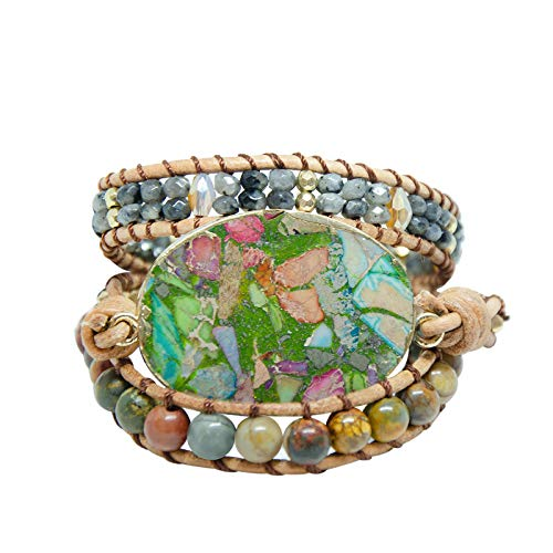 Fruitful Jewelry Bohemian Handmade Natural Stone Various Beaded Bracelets from Leather, Boho Wrap Bracelets for Women and Men turquoise