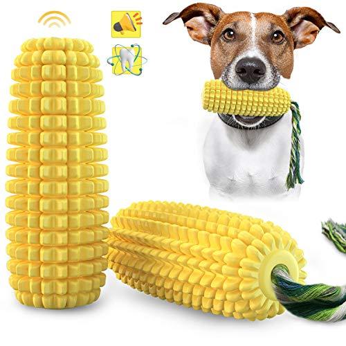 ANROD Hund sprechendes Spielzeug Kauspielzeug, quietschende Gummistab Hundezahnbürste Backenzahn Spielzeug, Maismuster für große mittlere kleine Hunde Zahnpflege
