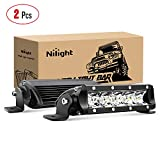 Nilight 40001S-B Bar Super Slim 2PCS 7 Inch 30W Spot Driving Fog 3600LM Single Row Off Road LED Lights for Jeep-2 Style Mounting Brackets, 2 Years Warranty