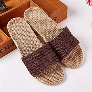 Indoor Slippers Women Summer Shoes Breathable Linen Open Toe House Flip Flops Home Casual Ladies Beach Slippers (Color : Coffee, Shoe Size : 5)