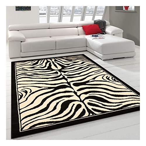 UN AMOUR DE TAPIS 160x225 Tapis Moderne pour Salon Design Zebre Poils Ras - Grand Tapis Salon Noir