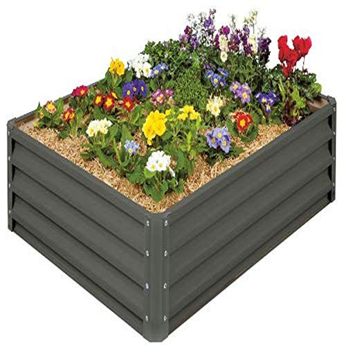 Stratco LG-18424 Raised Garden Bed, Metal, Slate Gray
