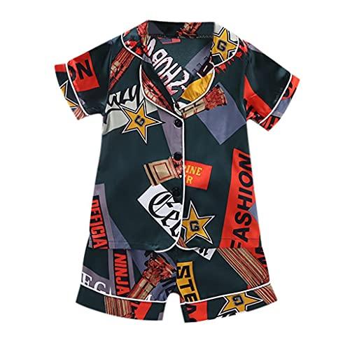 Pigiama per Bambino e Neonato, 0-4 Anni Due Pezzi Pigiami Estivi Cartoon Stampa Tops + Pantaloncini Sleepwear Set Indumenti da Notte Casa Vestiti Outfits