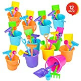ArtCreativity 4 PC Mini Beach Playsets - Set of 12 - Each Play Set Includes 1 Sand Bucket, 1 Shovel, 1 Rake, and 1 Scoop - Birthday Treats for Boys and Girls Party Favors for Kids and Toddlers
