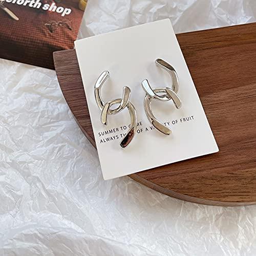Pendientes de plata para mujer, diseño de cruz de metal liso irregular, estilo exagerado, para mujer, joyería de viaje, regalos para novia, esposa, hermana, hija, madre en cumpleaños/Valen