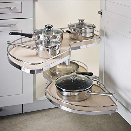 "Lemans II Set 2-Shelf Lazy Susan with Soft-Close for Blind Base Corner Cabinets (574 sq. Model 40, Tray Size: 12"", Swings Left)"