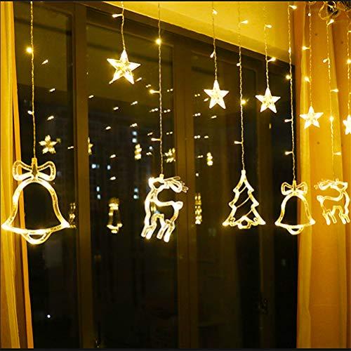 Hihey Led-lichtsnoer met 138leds, decoratieve kerstboom, eland-string, voor ramen, tuin, huis warmwit