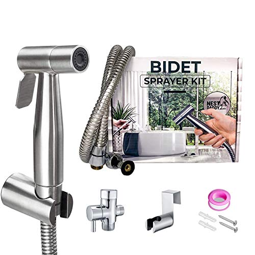 Handheld Bidet Sprayer for Toilet Stainless Steel Complete Bidet Set-Reduce toilet paper waste-Adjustable water Pressure Control