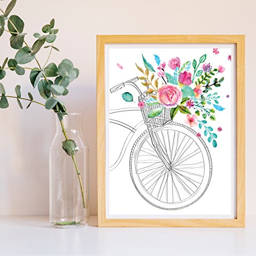 Frame de Nacnic Print voor fiets in het voorjaar. Poster in roze en turquoise en groen. Nordic stijl poster. Papier bedrukte vellen van 250 gram stabiele kleuren. A3-formaat