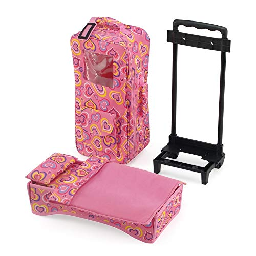 Emily Rose 14 Inch Doll Accessories   Doll Travel Carrier Backpack Case, with Trolley, Storage Pockets and Removable Baby Doll Bed   Fits American Girl Wellie Wishers and Bitty Baby Dolls