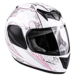 small DOT Street Kids Full Face Typhoon Youth Motorcycle Helmet-White Pink Butterfly (Medium)