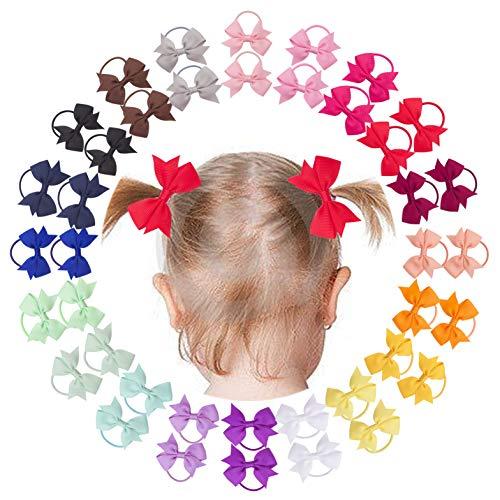 Vinobowtique 40Piece 2' Tiny Mini Pinwheel Ponytial Elastic Loop Hair Bows For Baby Girls Toddlers