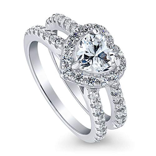 BERRICLE Rhodium Plated Sterling Silver Heart Shaped Cubic Zirconia CZ Halo Wedding Engagement Ring...
