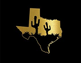 ND427G Texas With Cactus Decal Sticker | 5.5-Inches By 5.3-Inches | Premium Quality Gold Vinyl