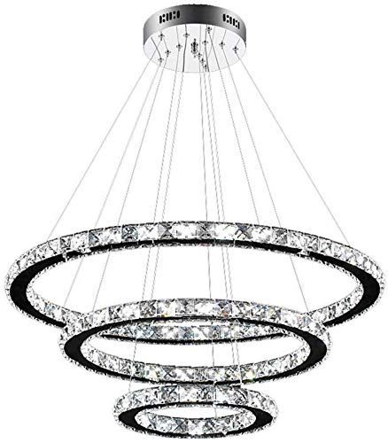 XinQing Lámparas de araña Diseño cristalino 96W LED lámpara de Techo lámpara de Techo Colgante Lámpara de Techo de la lámpara creativos Tres Anillos de lámparas frías [energética A ++]