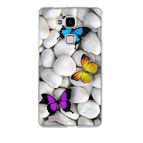 Fubaoda Ascend Mate 7 Hülle Case, [Schmetterlinge] für Huawei Ascend Mate 7 Case silikon Hülle Premium Durchsichtig Handyhülle Backcover Durchsichtig hülle Case Schutzhüllen TPU Case für Ascend Mate 7 - 2