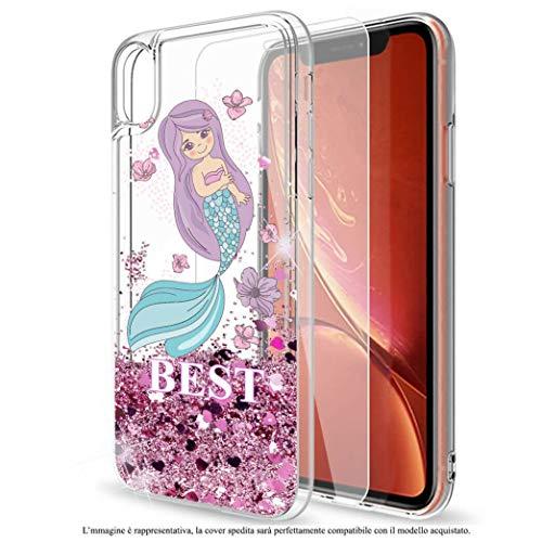 Mixroom - Custodia Cover Case con Brillantini Glitter in Gel Liquidi Quicksand per iPhone 7 Fantasia Best Friend Sirena 1 Codice 920